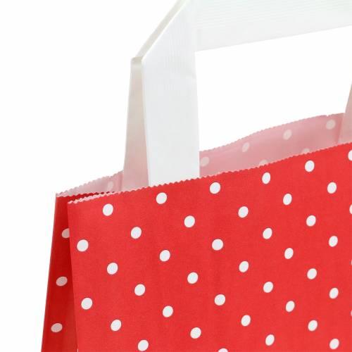 Papiertasche Rot mit Punkten 18cm x 8cm x 22cm 25St