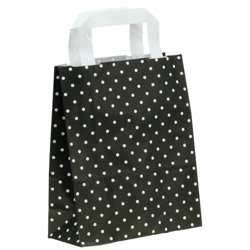 Papiertasche Schwarz mit Punkten 18cm x 8cm x 22cm 25St