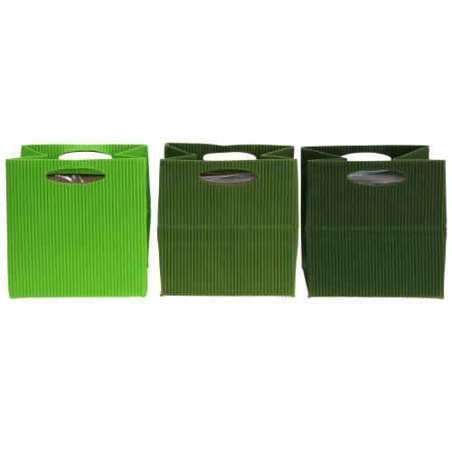 Papiertasche Blumentopf Übertopf Grün Mix 10,5cm 12St