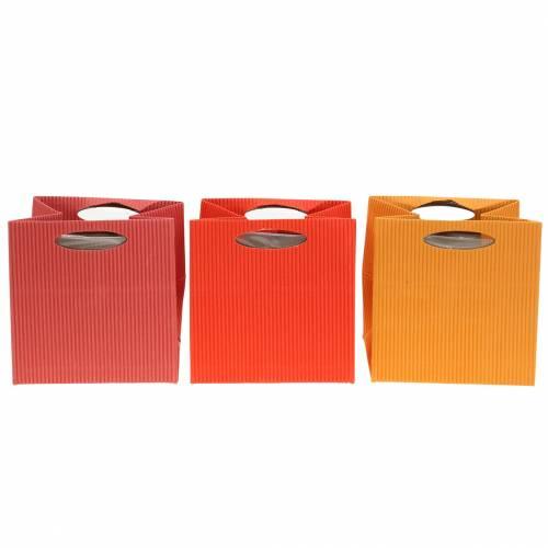 Papiertasche Blumentopf Übertopf Mix Orange 10,5cm 12St
