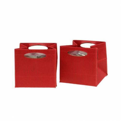 Papiertasche Blumentopf Übertopf Rot 10,5cm 12St