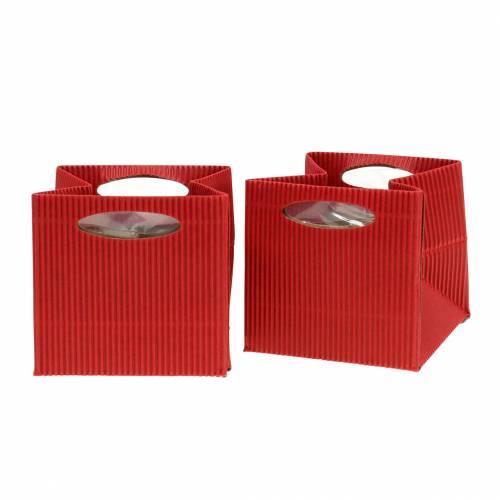 Papiertasche Blumentopf Übertopf Rot 12cm 12St