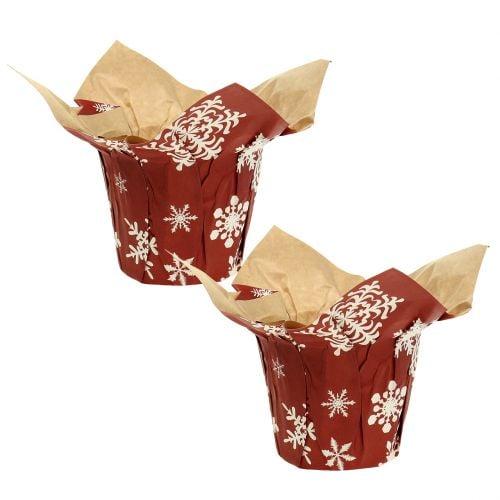 Übertöpfe aus Papier mit Schneeflocken Rot, Weiß Ø7cm 12St