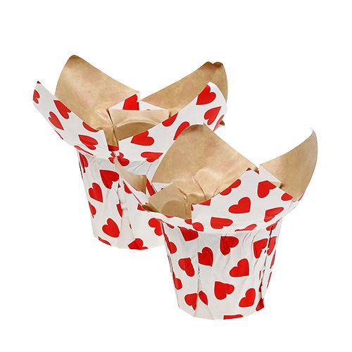 Papiertopf mit Herzen Ø10cm H8cm Weiß-Rot 8St