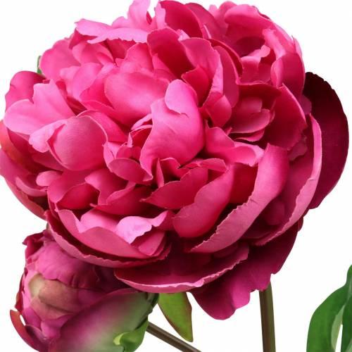 Pfingstrose Kunstblume mit Blüte und Knospe Lila Magenta 68cm