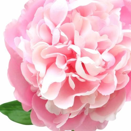 Pfingstrose Kunstblume mit Blüte und Knospe Rosa 68cm