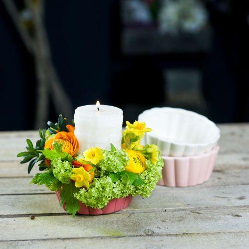Pflanzgefäß Backform, Kuchenform zum Bepflanzen, Keramiktopf H5cm Ø12,5cm 3St