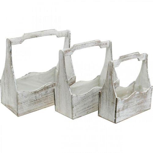 Pflanzkiste, Werkzeugkasten, Blumenkasten Henkel, Holzgefäß-Set 33,5/30,5/26,5cm