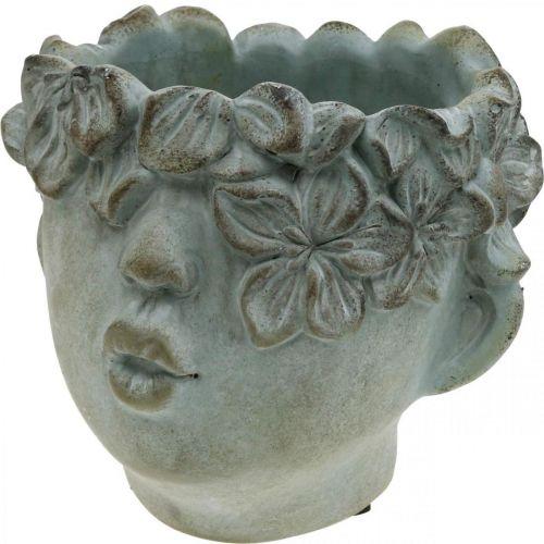 Pflanzkopf, Deko-Büste, Blumenkopf, Betondeko Antik-Look H18cm