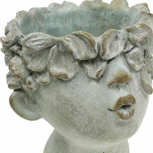 13,5 cm hoch Pflanzgefäß antik creme//grau  mit floralem Muster ca Vintage Ton