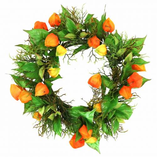 Physalis Kranz künstlich Orange, Grün Ø28cm Herbstdeko