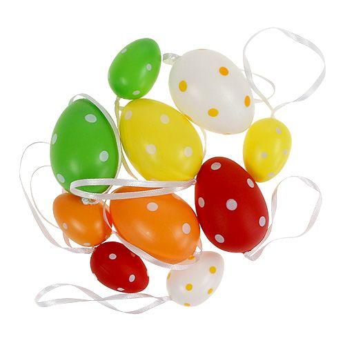 Plastik Eier sort. 4cm - 6cm gepunktet 22St