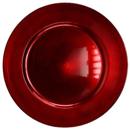 Kunststoffteller Ø25cm rot mit Glasureffekt