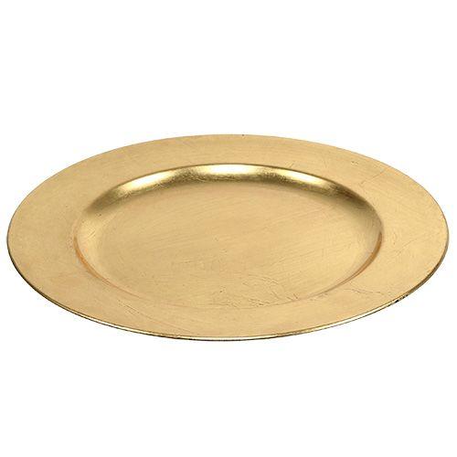 Plastikteller Ø33cm Gold mit Blattgold-Effekt