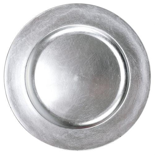 Kunststoffteller Silber Ø33cm mit Glasureffekt