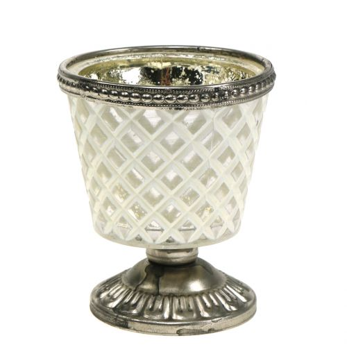Teelichtglas Pokal Bauernsilber H9cm