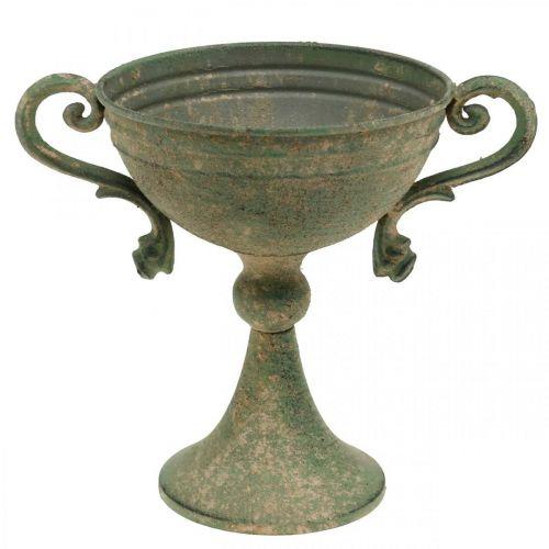 Pokal mit Henkeln, Metallkelch, Amphore zum Bepflanzen Ø14cm H18cm