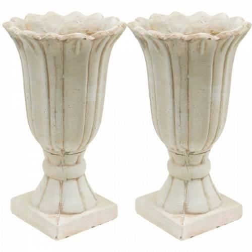 Deko-Amphore, Kelch zum Bepflanzen, Pokal-Tulpe Pflanzkrug Ø12cm H25,5cm 2St