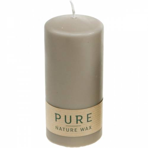 Pure Stumpenkerze Braun 130/60 Naturwachs Kerze nachhaltig Stearin und Raps