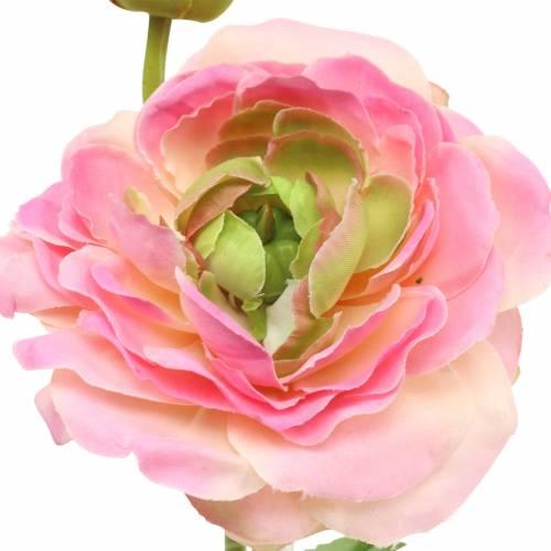 Ranunkel Blüte und Knospe künstlich Rosa 34cm