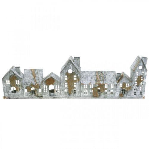 Häuser zum Beleuchten, Fensterdeko, Lichterhäuser Silbern, Metallwindlicht Antik-Look L67,5cm H20cm