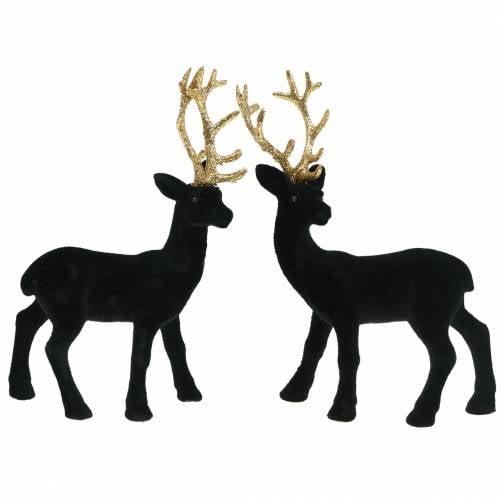 Hirsch 2er Set beflockt schwarz Gold Hirsch Weihnachts Deko