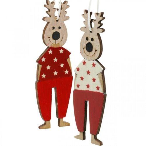 Rentiere zum Hängen, Weihnachtsdeko, Christbaumschmuck, Holzdeko für den Advent H13cm 8St