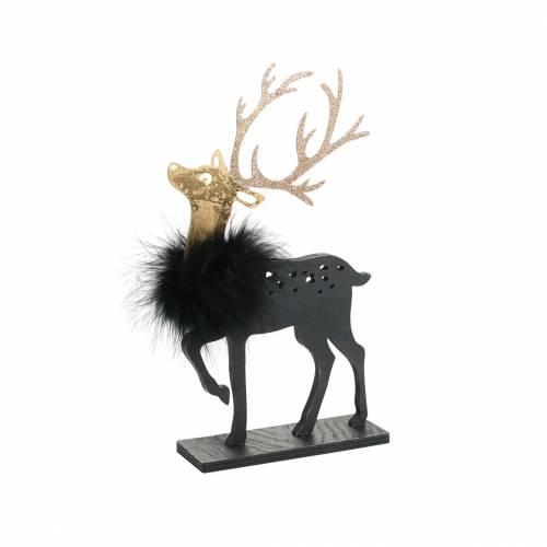 Deko für den Weihnachtstisch Rentier mit Federboa und Glitter Schwarz, Golden 22,5×13cm 2St
