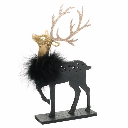 Rentier mit Federn und Glitter Schwarz, Golden 29×18cm 2St
