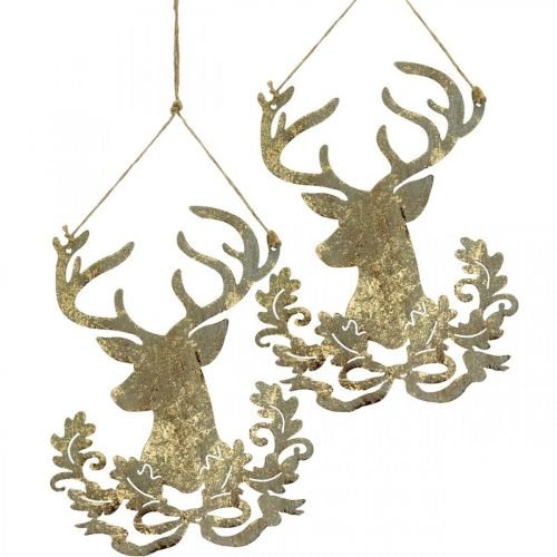 Rentier zum Hängen, Weihnachtsdeko, Hirschkopf, Metallanhänger Golden Antik-Optik H23cm 2St