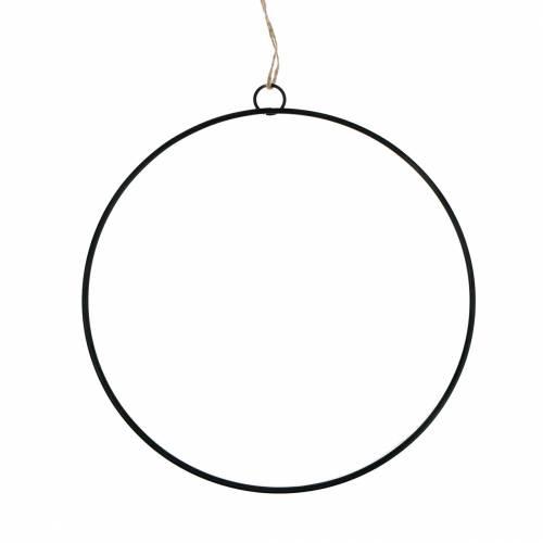 Deko Ring zum Hängen Schwarz Ø25cm 6St