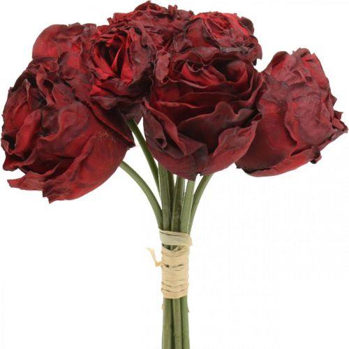 Kunstrosen Rot, Seidenblumen, Rosenbund L23cm 8St