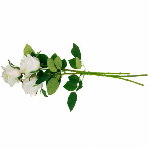 Weiße Rose am Stiel, Seidenblume, künstliche Rose 3St