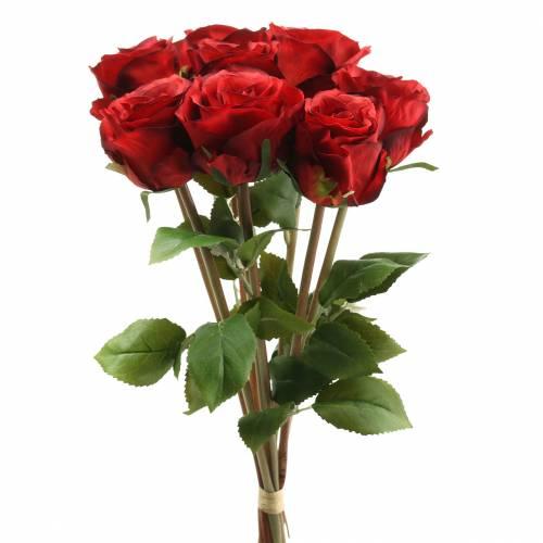 Rose im Bund künstlich Rot 36cm 8St