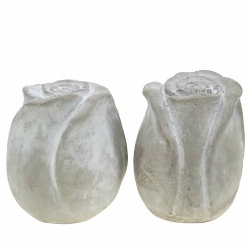 Grabschmuck Rose Grab-Dekoration Beton Rose H10cm 4St