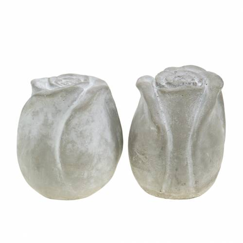 Grabschmuck Rose Grab-Dekoration Rosen aus Beton H7cm 6St