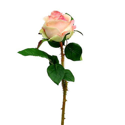 Rose künstlich Creme-Rosa Ø9cm L45cm 1St