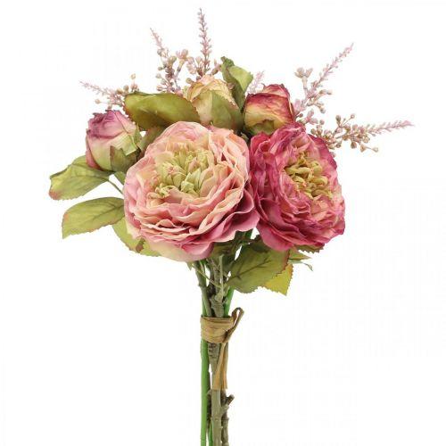 Rosen Seidenblumen im Bund Herbstbouquet Rosa, Violett H36cm