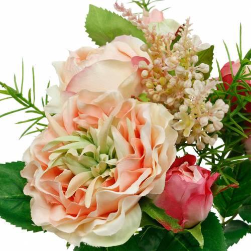 Rosenstrauß Künstlicher Rosen im Bund Rosa Seidenblumen Bukett