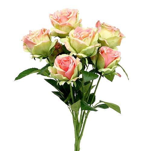 Rosenbusch künstlich Grün, Rosa 55cm