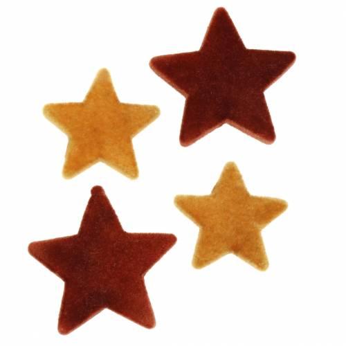 Streudeko Stern-Mix beflockt Curry, Rooibos 4cm/5cm 40St