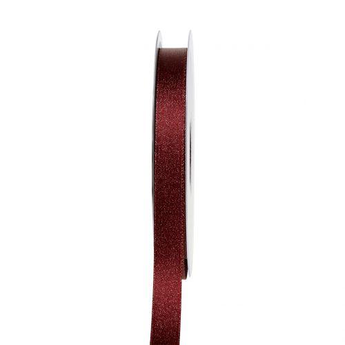 Satinband mit Glimmer Dunkelrot 10mm 20m