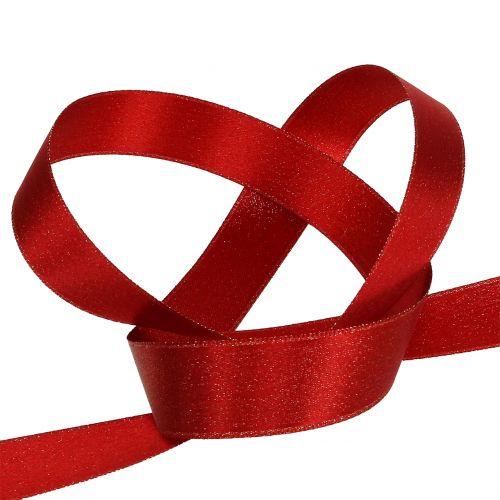 Satinband mit Glimmer Rot 25mm 20m