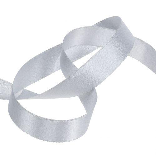 Satinband mit Glimmer Silber 25mm 20m