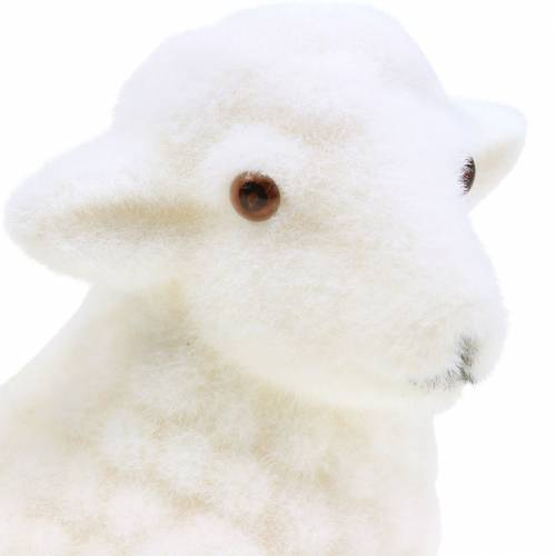 Osterdeko Lamm liegend beflockt Weiß H15cm