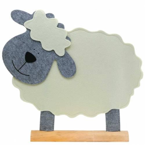 Schaf stehend Filz Creme, Grau 51×7cm H47cm