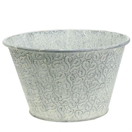 Zinkschale mit Dekor Crème gewaschen Ø29cm H17cm