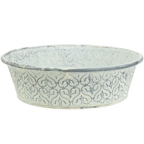 Zinkschale mit Dekor Crème gewaschen Ø35,5cm H9cm