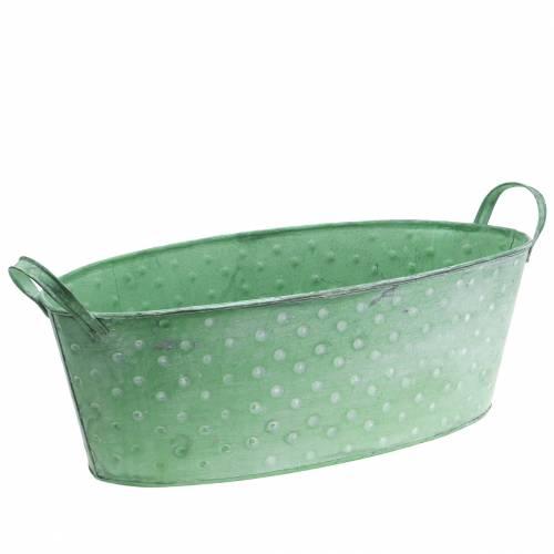 Zinkschale mit Griffen Oval Gepunktet Grün, Weiß gewaschen 39,5x18cm H14cm
