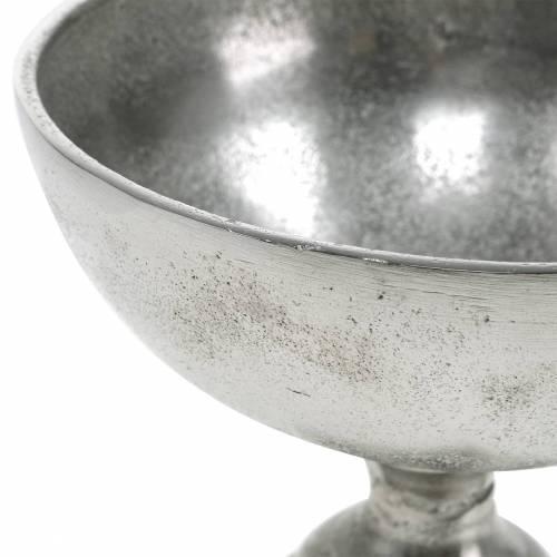 Schale mit Fuß Silbern Metall Ø16cm Tischdeko antiker Look
